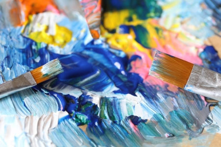 modern art: Closeup of brush and palette