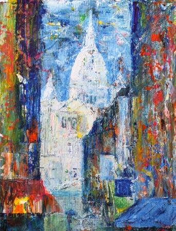アクリルによって描かれたフランス、パリのモンマルトル通り