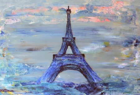 architectural styles: Eiffel Tower from Paris painted on paper