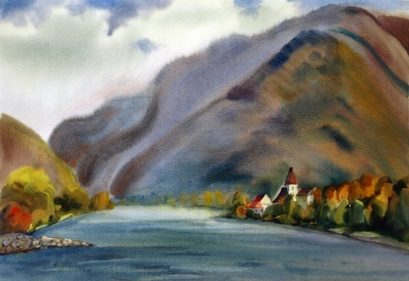 Austrian landscape with mountain lake painted by watercolor photo