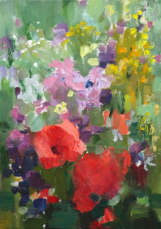 impressive: Oil painting of the beautiful flowers