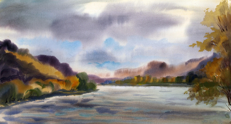 Autumn landscape with mountain lake painted by watercolor photo