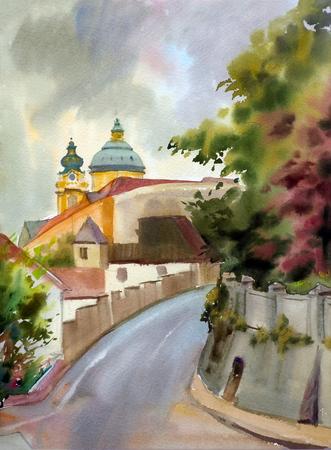austrian: Austrian city of Melk landscape painted by watercolor