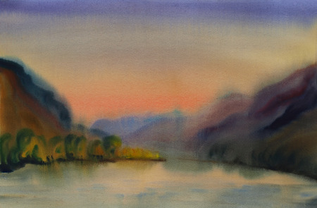 Watercolor painting landscape of sunset and mountain lake photo