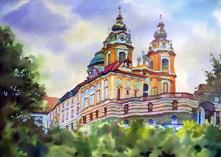impressive: Austrian city of Melk landscape painted by watercolor