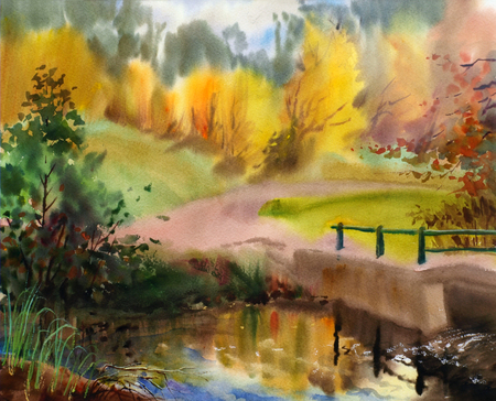 Autumn landscape in the country painted by watercolor Banco de Imagens