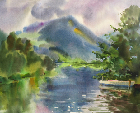 Mountain lake landscape painted by watercolor photo