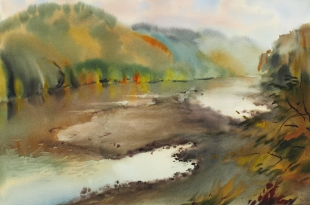 Autumn landscape with mountain lake painted by watercolor Stock Photo - 23811267