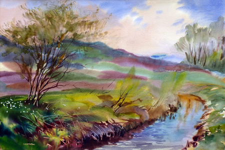 Natural landscape painted by watercolor Stock Photo