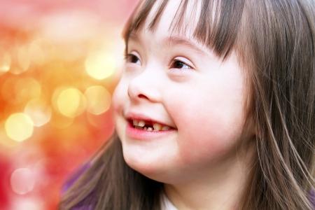discapacidad: Retrato de la hermosa chica joven feliz Foto de archivo