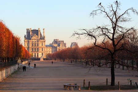 Beautiful view of Louvre palace from parkside, Paris, France photo