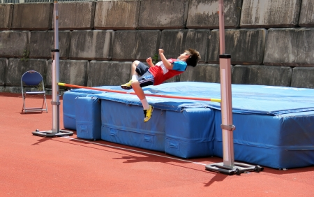 Boy on track and field competition