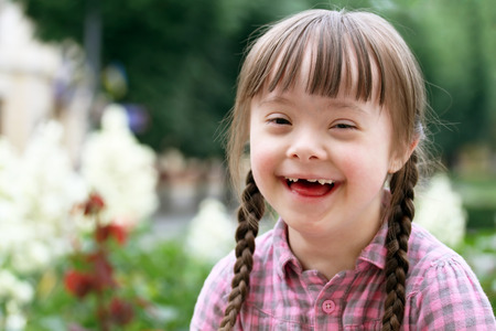 disabled: Portrait of beautiful young girl smiling