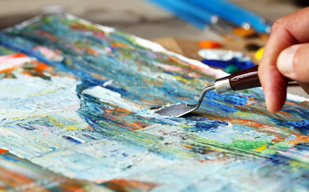art palette: Art painting with palette knife