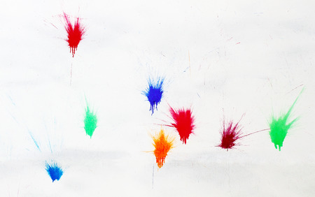 colors paint: Background of a colors paint splatter on a white wall
