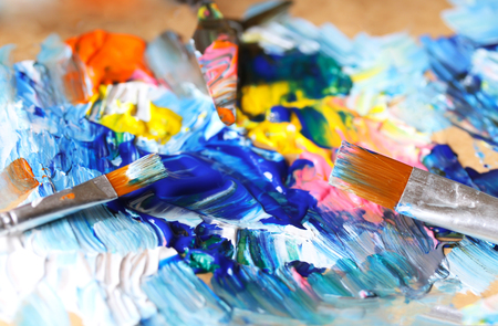 art and craft: Closeup of brush and palette