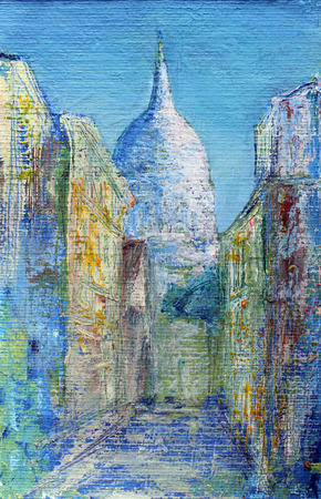 france painted: Montmartre street in the Paris, France painted by acrylic