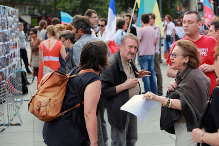 Protest manifestation against war in Ukraine in Republic Square of Paris on aug  02  2014 in Paris, France