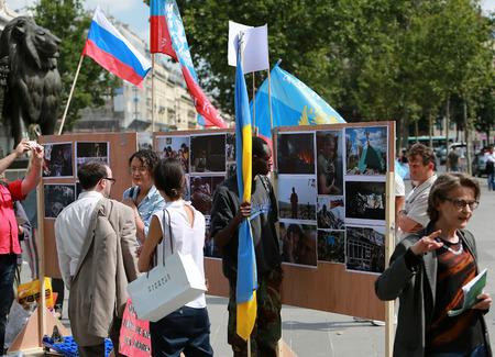 Protest manifestation against war in Ukraine in Republic Square of Paris on aug. 02. 2014 in Paris, France.