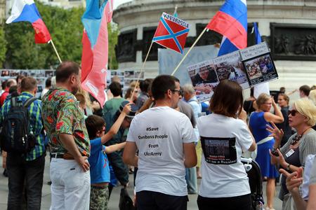 Protest manifestation against war in Ukraine in Republic Square of Paris on aug. 02. 2014 in Paris, France. Editorial