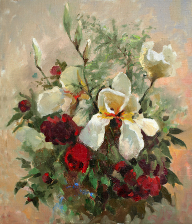 Oil painting of the beautiful flowers