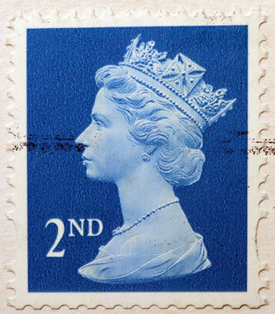 elizabeth: English Used Second Class Postage Stamp showing Portrait of Queen Elizabeth 2nd, circa 2010
