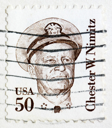 admiral: Stamp printed in the United States shows image of Chester W. Nimitz, former Admiral of the US Navy, series, circa 1985