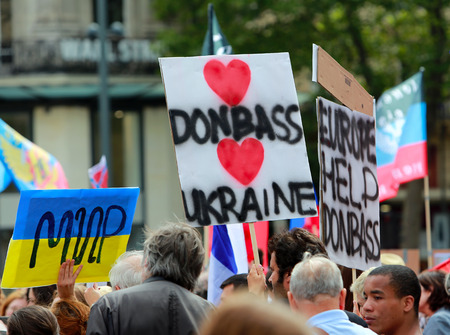 donbass: Protest manifestation against war in Ukraine on Republic Square of Paris on aug. 02. 2014 in Paris, France.
