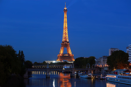 View on Eiffel Tower in the night, Paris, France