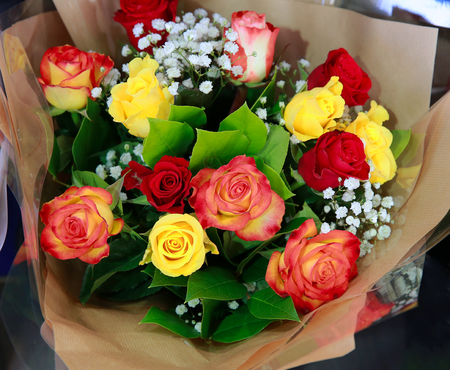 love rose: Beautiful bouquet of flowers in the shop