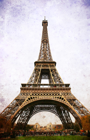 old fashioned sepia: Eiffel Tower - retro postcard styled.