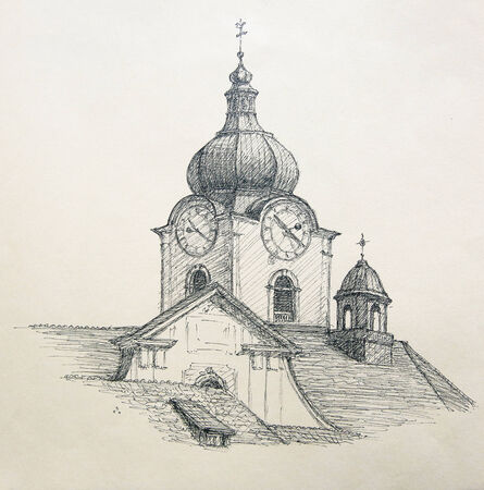 pencil: Hand painted graphic illustration: City church of Altstatten, Switzerland. Stock Photo
