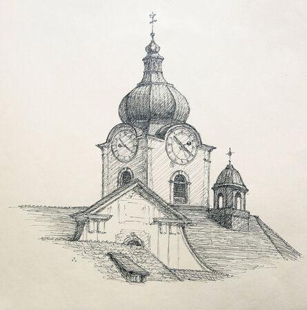 lapiz y papel: Pintado a mano ilustraci�n gr�fica: Iglesia de la ciudad de Altstatten, Suiza. Foto de archivo