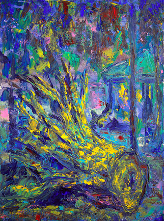 abloom: Abstract picture of the stump in the park, painted on canvas