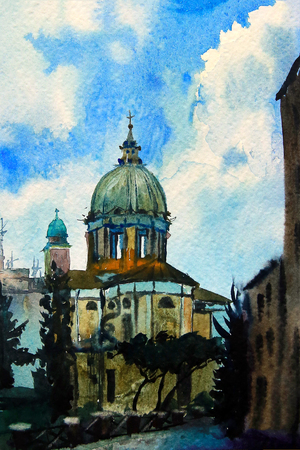 Watercolor painted picture of the Chiesa San Rocco, Rome, Italy. photo