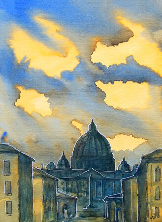 Basilica Sant Pietro, painted by watercolor in Vatican, Rome, Italy.