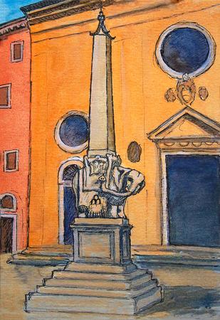 산타 마리아 소프 라 미네르바 교회 밖에 서 로마, 이탈리아, 피아자 델라 미네르바에 코끼리와 오벨리스크의 그림.