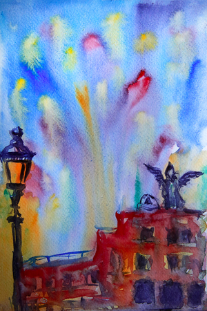 remarkable: Abstract picture of the Castel Sant Angelo in Rome painted by watercolor.