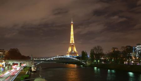 paris night: View on Eiffel Tower in the night, Paris, France