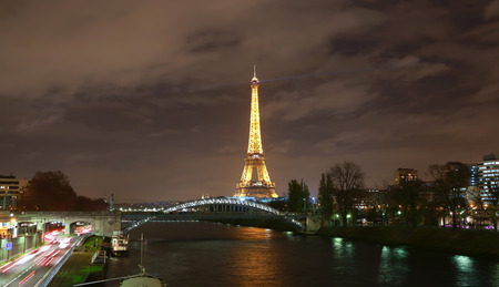 eiffel tower architecture: View on Eiffel Tower in the night, Paris, France