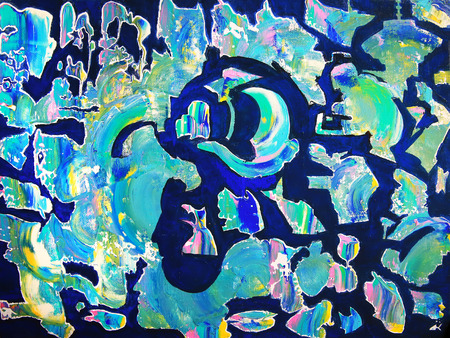 Art abstract schilderen met acrylverf Stockfoto