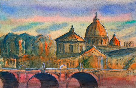 roman catholic: Basilica Sant Pietro, Tiber river and Ponte Vittorio Emanuele, Vatican, Rome, Italy.