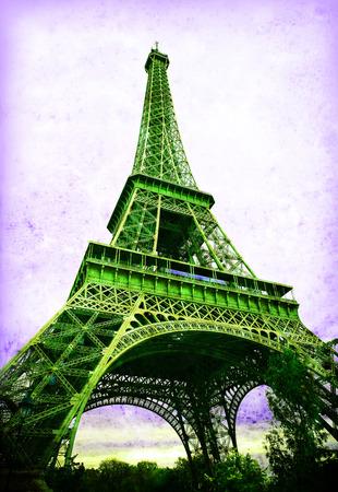 Eiffel Tower - retro postcard styled. photo