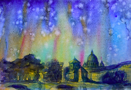 vatican city: Abstract picture of Rome painted by watercolor.