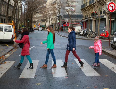 Happy family moments - girls having fun in the city