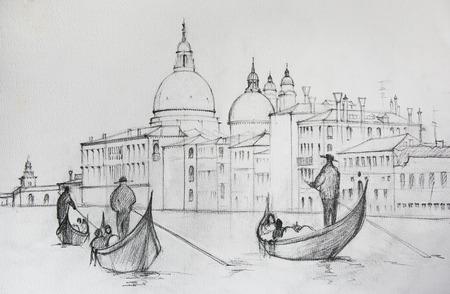 イタリア、ベニスの絵画、鉛筆によって描かれました。