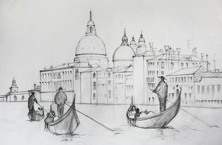 venice canal: Painting of Venice Italy, painted by pencil