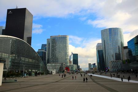 triumphe: Esplanade, view from Grande Arche , La Defense district in the day on Feb. 21, 2015 in Paris, France. La Defense is business district of Paris Meto Area