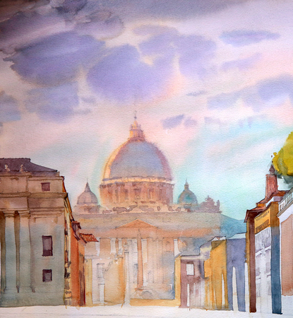 basilica: Basilica Sant Pietro, painted by watercolor in Rome, Italy.