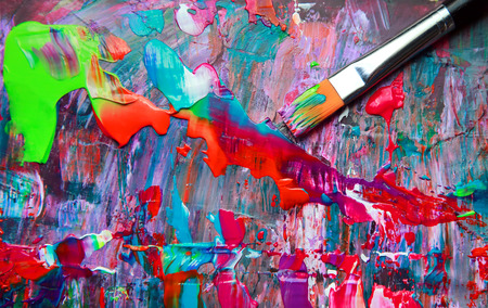 contemporary art: Closeup of brush and palette.